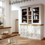 Boe Antiqued White And Pine Display Cabinet